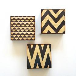 Art Block Trio/3/Three 5x5 Mix and Match FREE SHIPPING 3 geometric pattern chevron zig zag brown black gray red tile studio