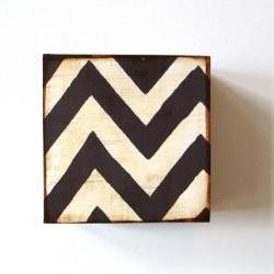 Zigzag Chevron Design 1 5x5 art block on wood Black White graphic modern pattern shapes red tile studio