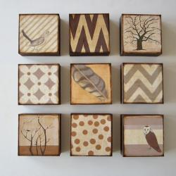 Art Block 5x5 Nine 9 Set Nature and Pattern Collection neutral gray beige brown rust orange Free Shipping 5x5 Geometric redtilestudio wood