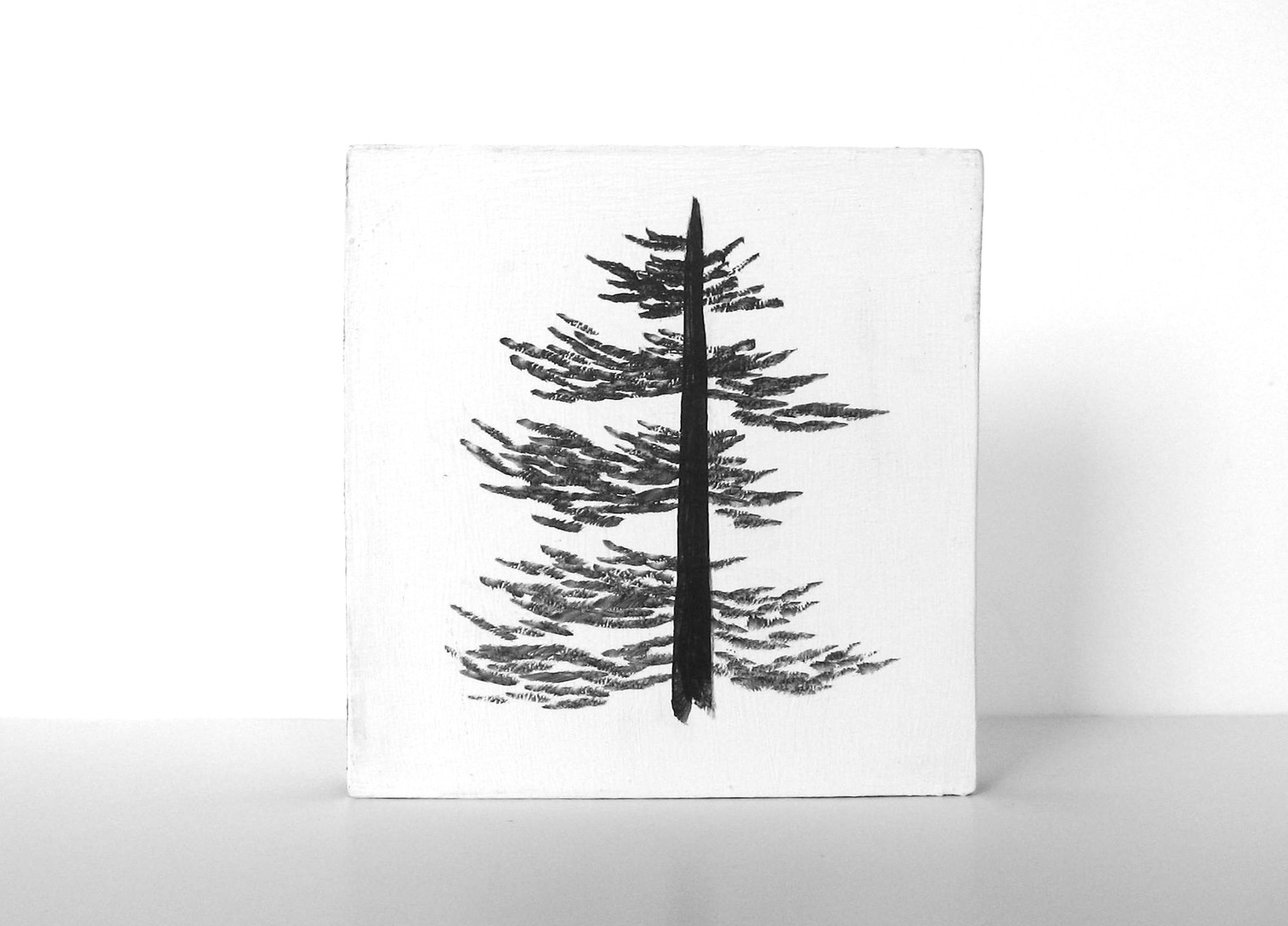 6x6 Art Block Painting PIne Tree Black White Texas Woods Forest Nature Red Tile Studio